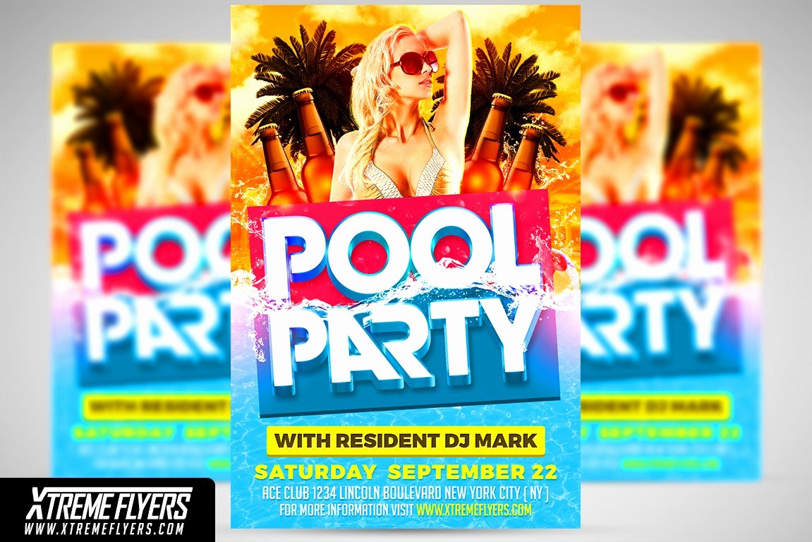 Pool Party Flyer Template Beautiful Pool Party Flyer Template Flyer Templates Creative Market