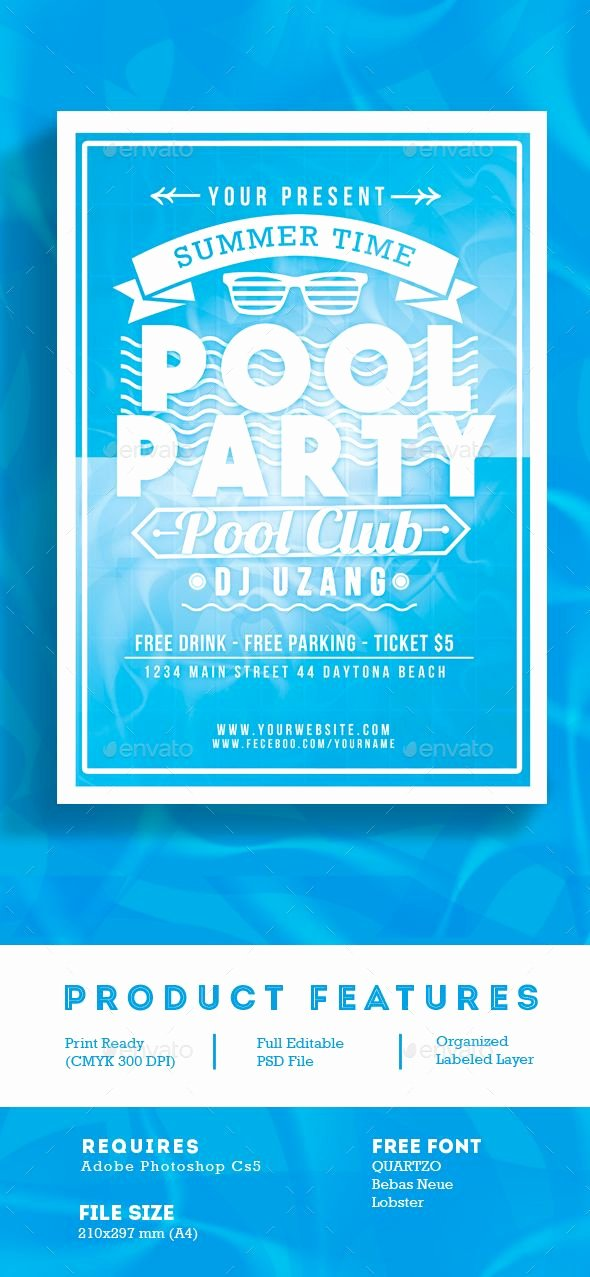 Pool Party Flyer Template Beautiful Pool Party Summer Time Flyer