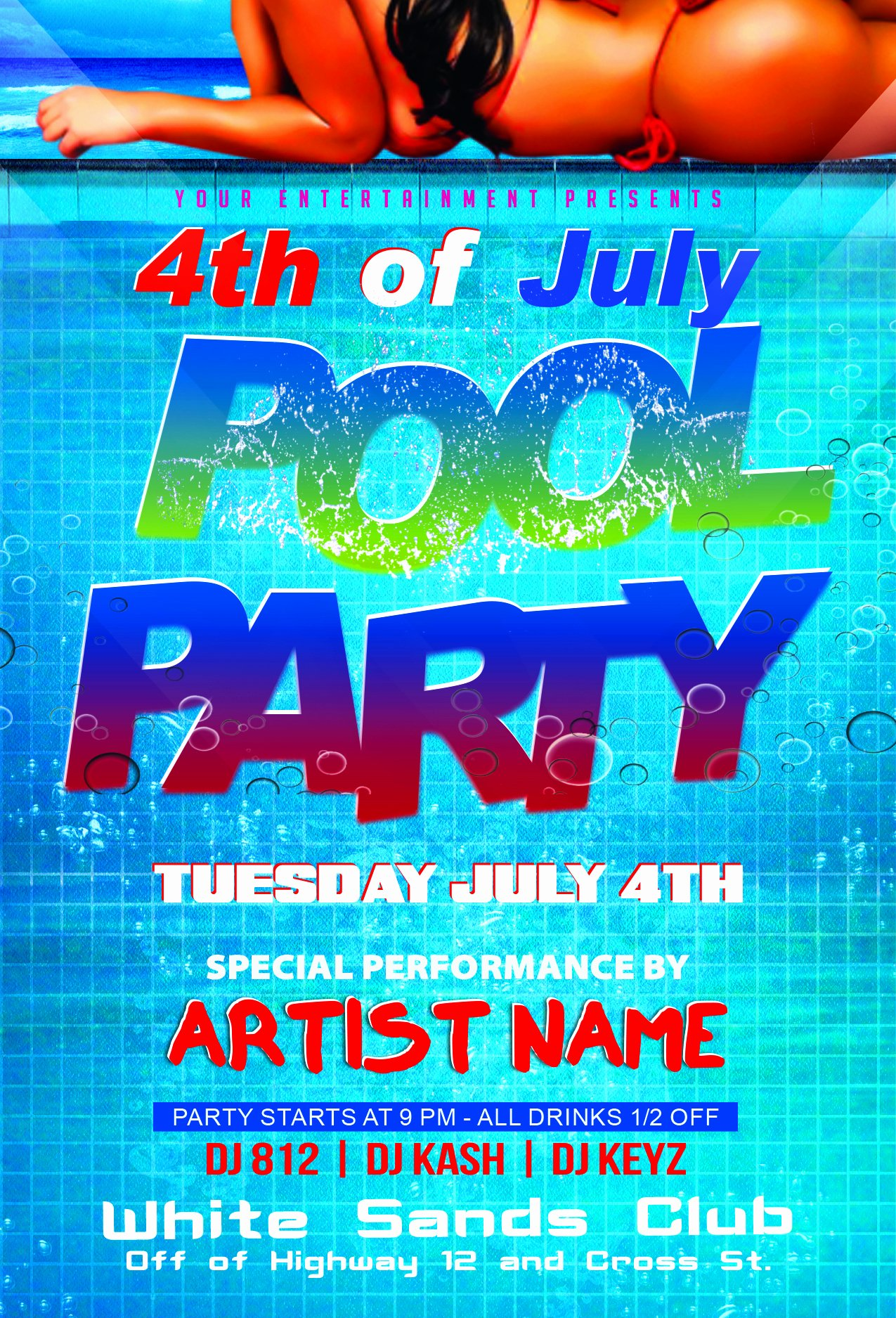 Pool Party Flyer Template Elegant 4th Of July Pool Party Flyer Template
