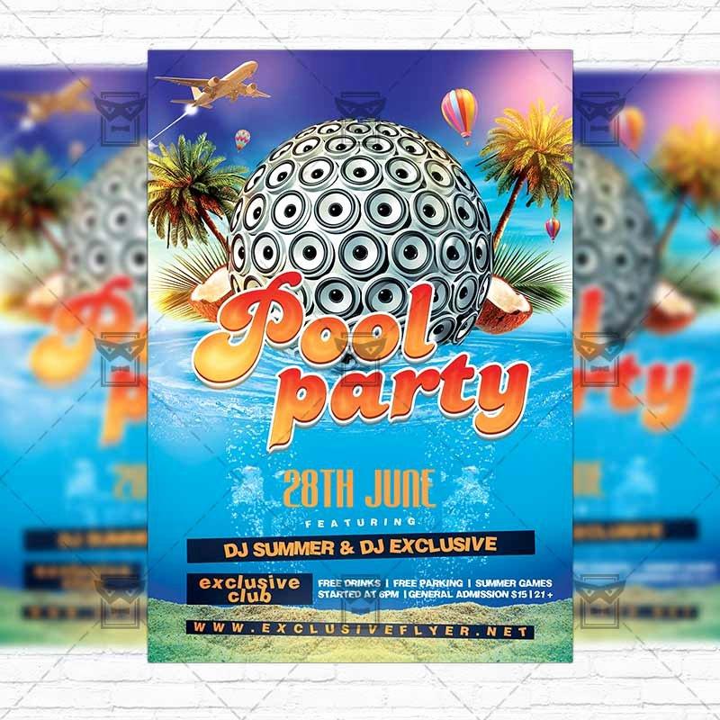 Pool Party Flyer Template Elegant Summer Pool Party – Premium Flyer Template Instagram