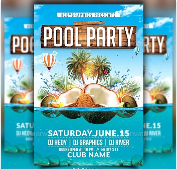 Pool Party Flyer Template Free Awesome 23 Pool Party Flyers Free Psd Word Ai Eps format