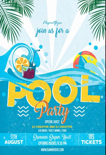 Pool Party Flyer Template Free Awesome Cocktail