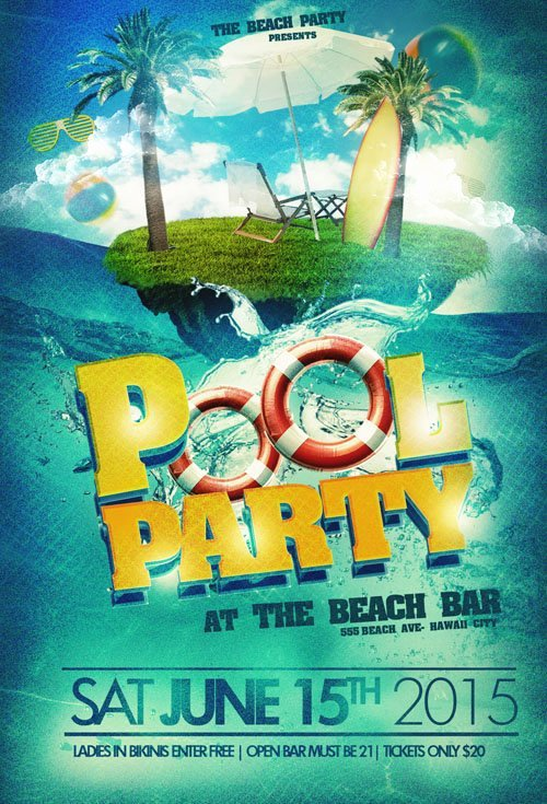 Pool Party Flyer Template Free Awesome Flyer Template Psd Pool Party Beach Nitrogfx