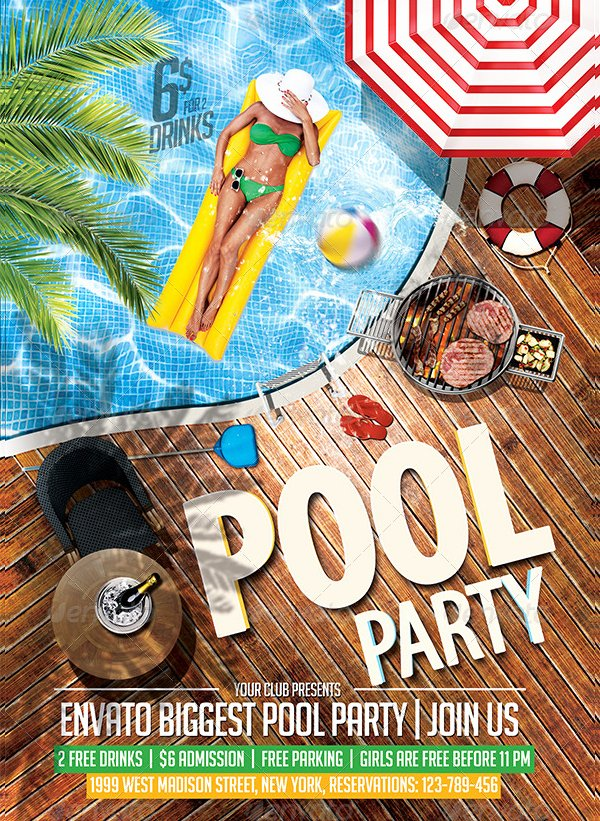 Pool Party Flyer Template Free Best Of 20 Pool Party Flyer Templates Free Premium Psd