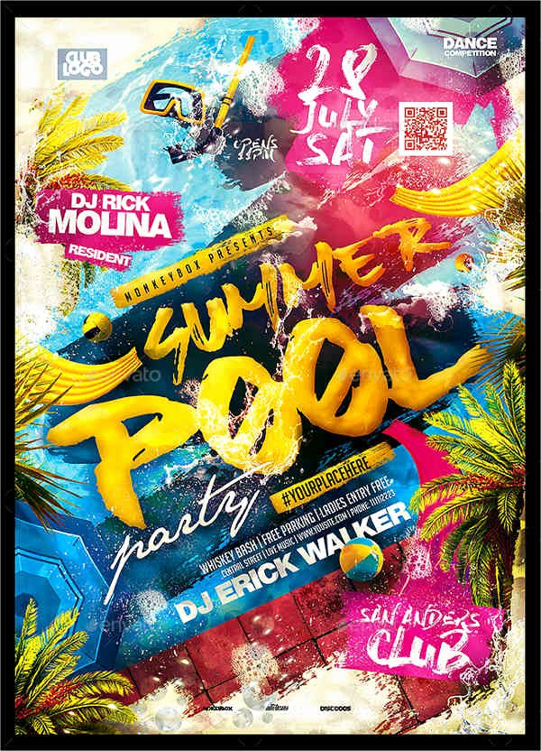 Pool Party Flyer Template Free Fresh 9 Pool Party Flyers Designs Templates