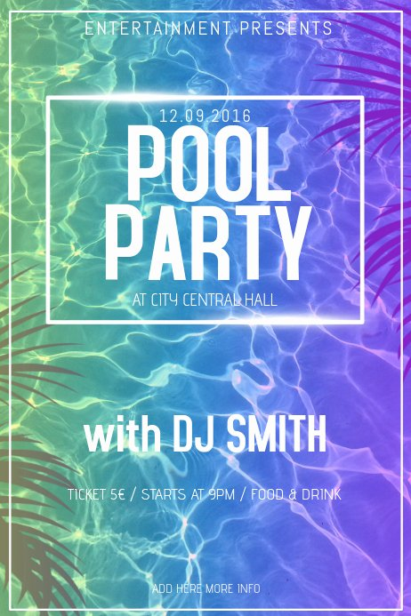 Pool Party Flyer Template Free Inspirational Pool Party Poster Flyer Template