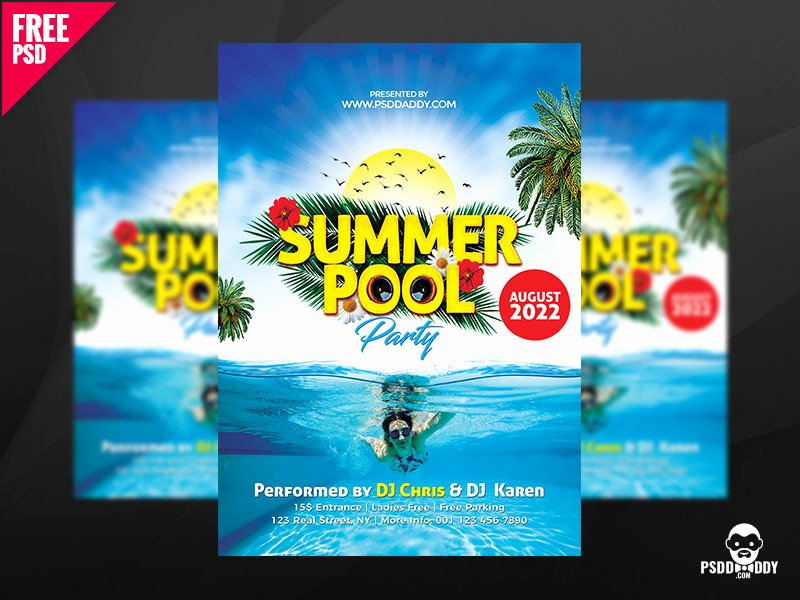 Pool Party Flyer Template Free Inspirational Summer Pool Party Free Psd by Mohammed asif