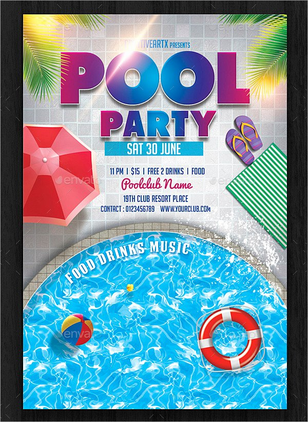Pool Party Flyer Template Free Lovely 33 Printable Pool Party Invitations Psd Ai Eps Word