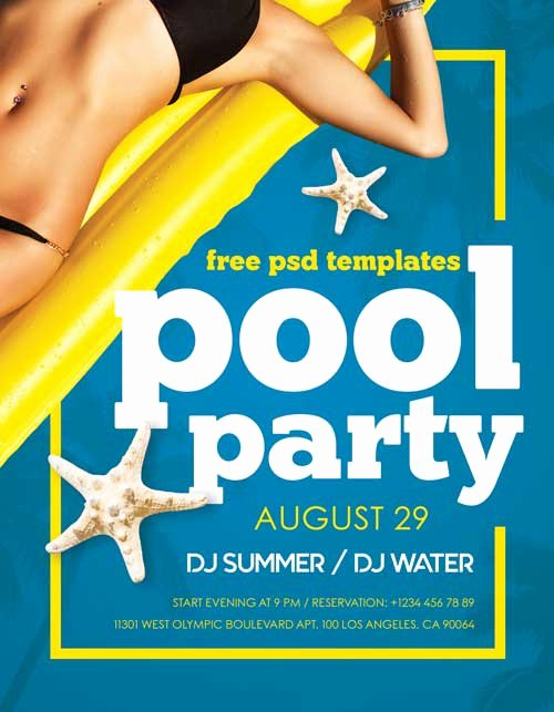 Pool Party Flyer Template Free Lovely Summer Pool Party Free Psd Flyer Template Freebie