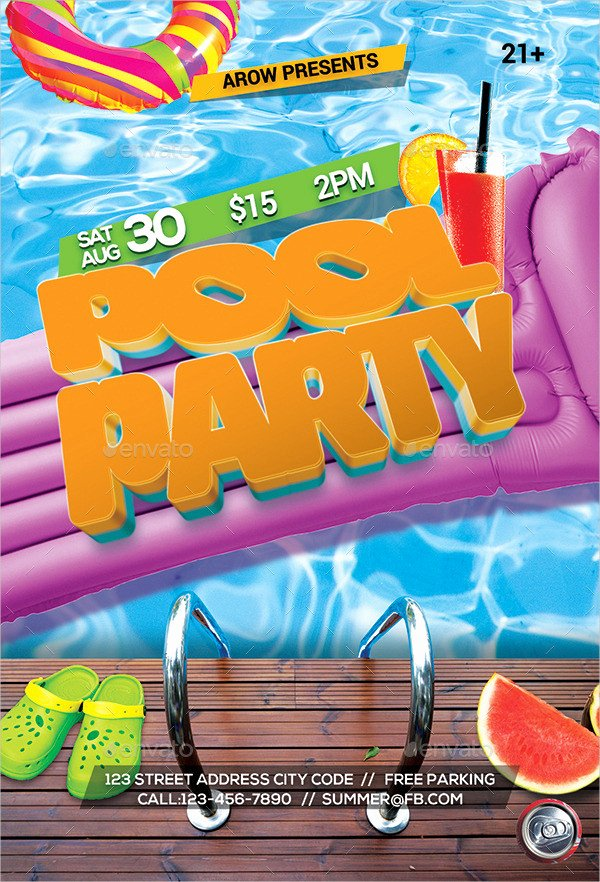 Pool Party Flyer Template Free Luxury 33 Printable Pool Party Invitations Psd Ai Eps Word