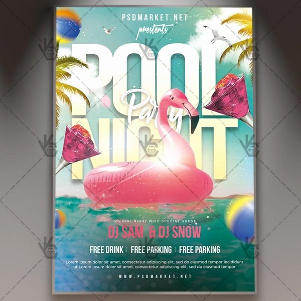 Pool Party Flyer Template Free Luxury Download Teen Pool Party Flyer Psd Template