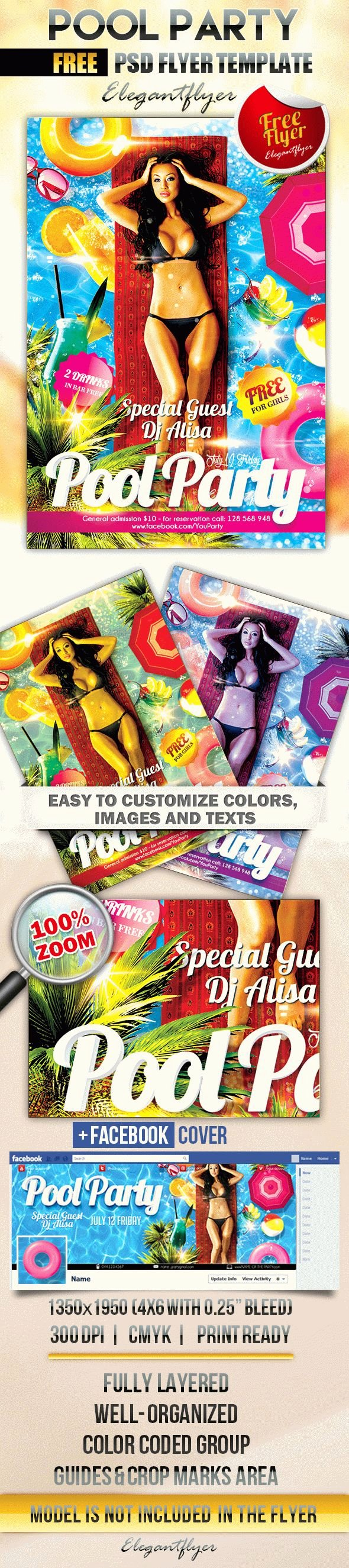Pool Party Flyer Template Free New Pool Party 2 – Free Flyer Psd Template – by Elegantflyer