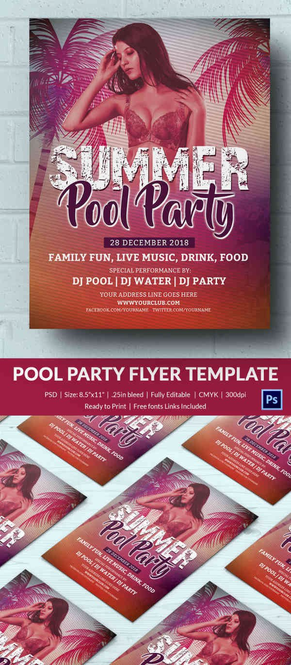 Pool Party Flyer Template Free Unique Pool Party Invitation Template 37 Free Psd format