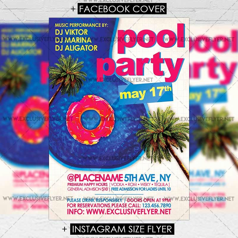 Pool Party Flyer Template Luxury Pool Party – Premium A5 Flyer Template