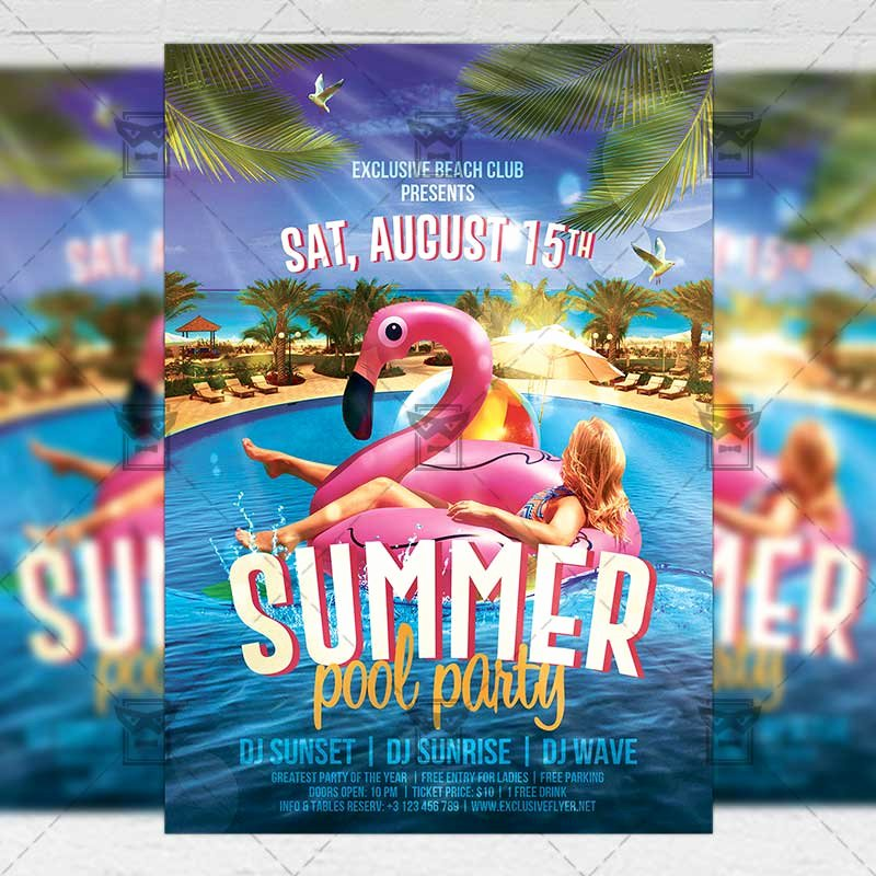 Pool Party Flyer Template Luxury Summer Pool Party Flyer – Seasonal A5 Template