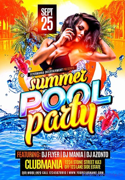 Pool Party Flyer Template Unique 40 Best Summer Pool Party Flyer Print Templates 2016