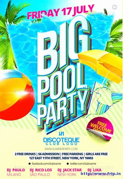 Pool Party Flyer Template Unique 50 Best Summer Pool Party Flyer Print Templates 2019