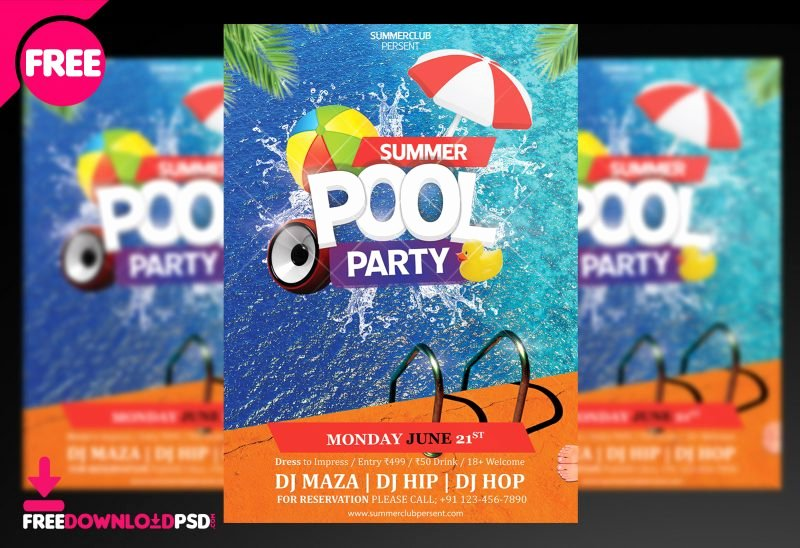 Pool Party Flyer Template Unique Pool Party Psd Flyer
