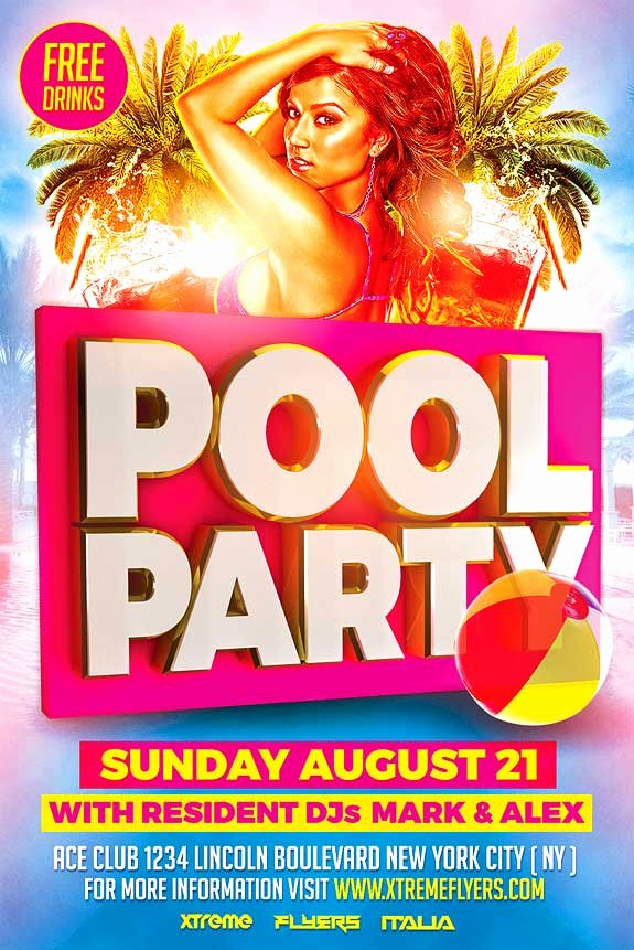 Pool Party Flyer Templates Free Awesome Pool Party Flyer Template Xtremeflyers