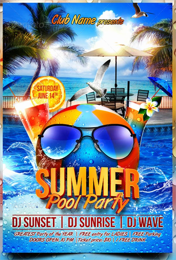 Pool Party Flyer Templates Free Best Of 93 Party Flyer Design Psd Word Ai Eps format