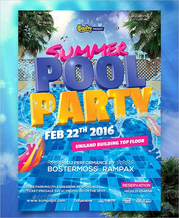 Pool Party Flyer Templates Free Elegant 33 Printable Pool Party Invitations Psd Ai Eps Word