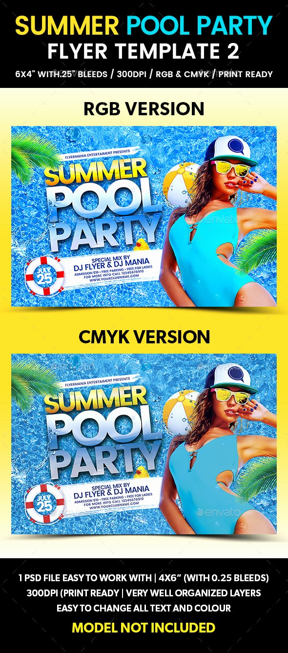 Pool Party Flyer Templates Free Elegant Summer Pool Party Flyer Template 2 by Flyermania