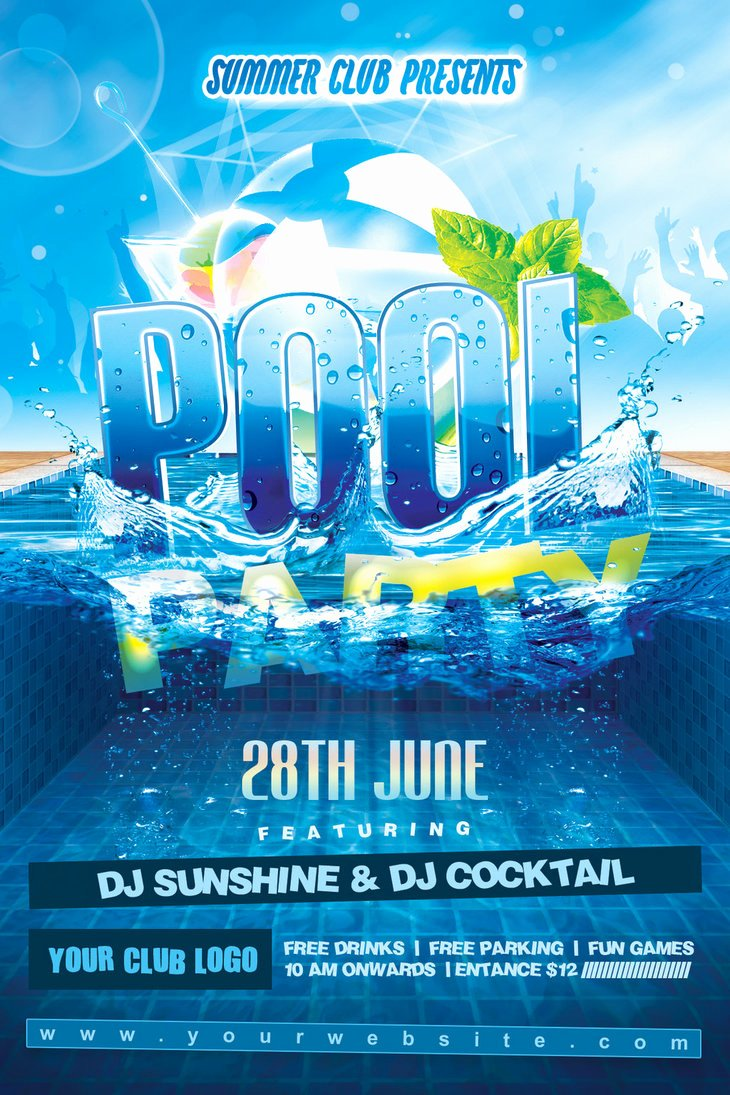 Pool Party Flyer Templates Free Unique Summer Pool Party Flyer by Dilanr On Deviantart