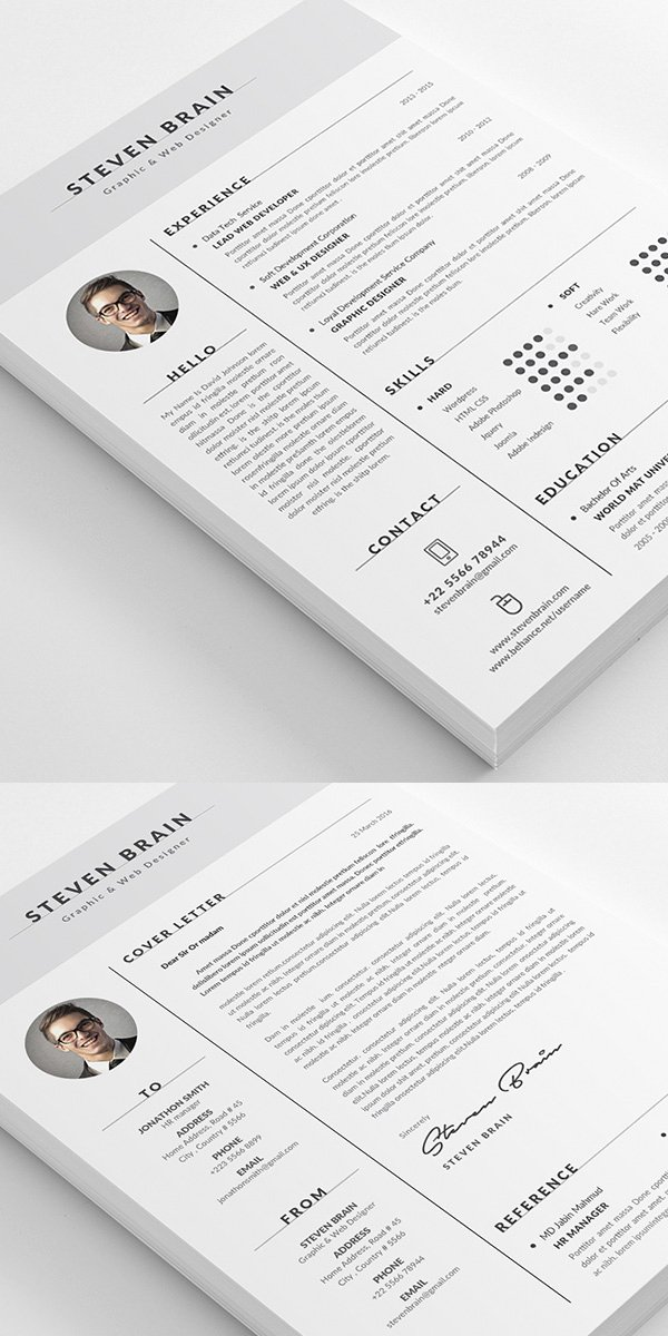 Portfolio Cover Page Template Beautiful 26 Creative Cv Resume Templates with Cover Letter