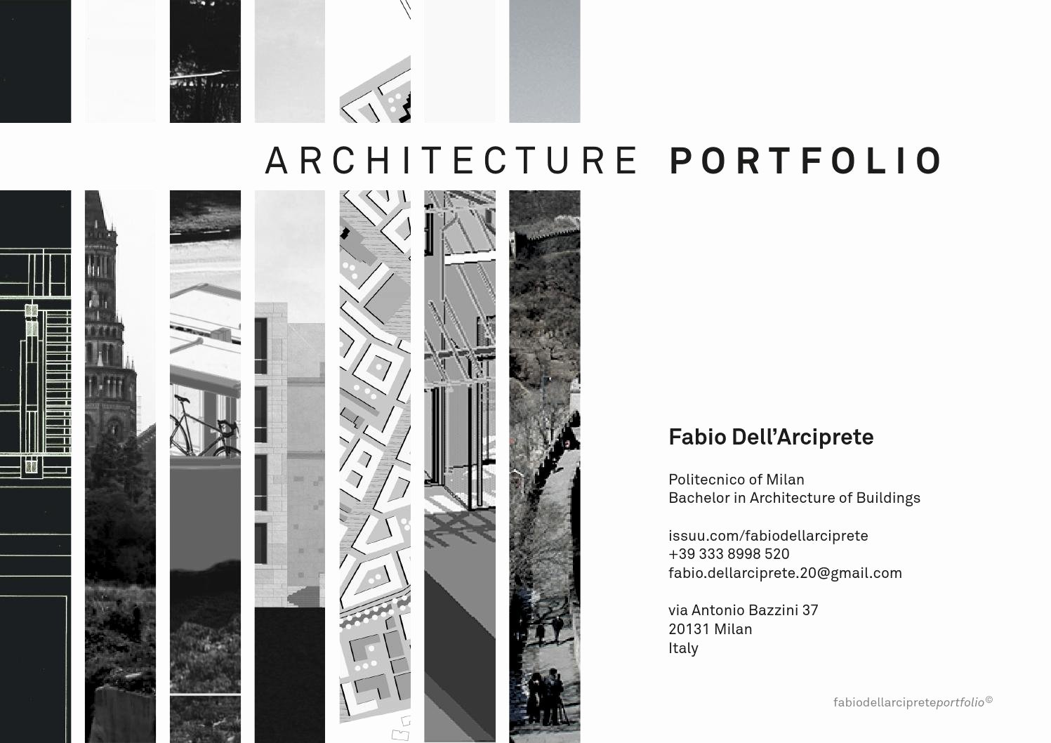 Portfolio Cover Page Template New Architecture Portfolio by Fabio Dell Arciprete issuu