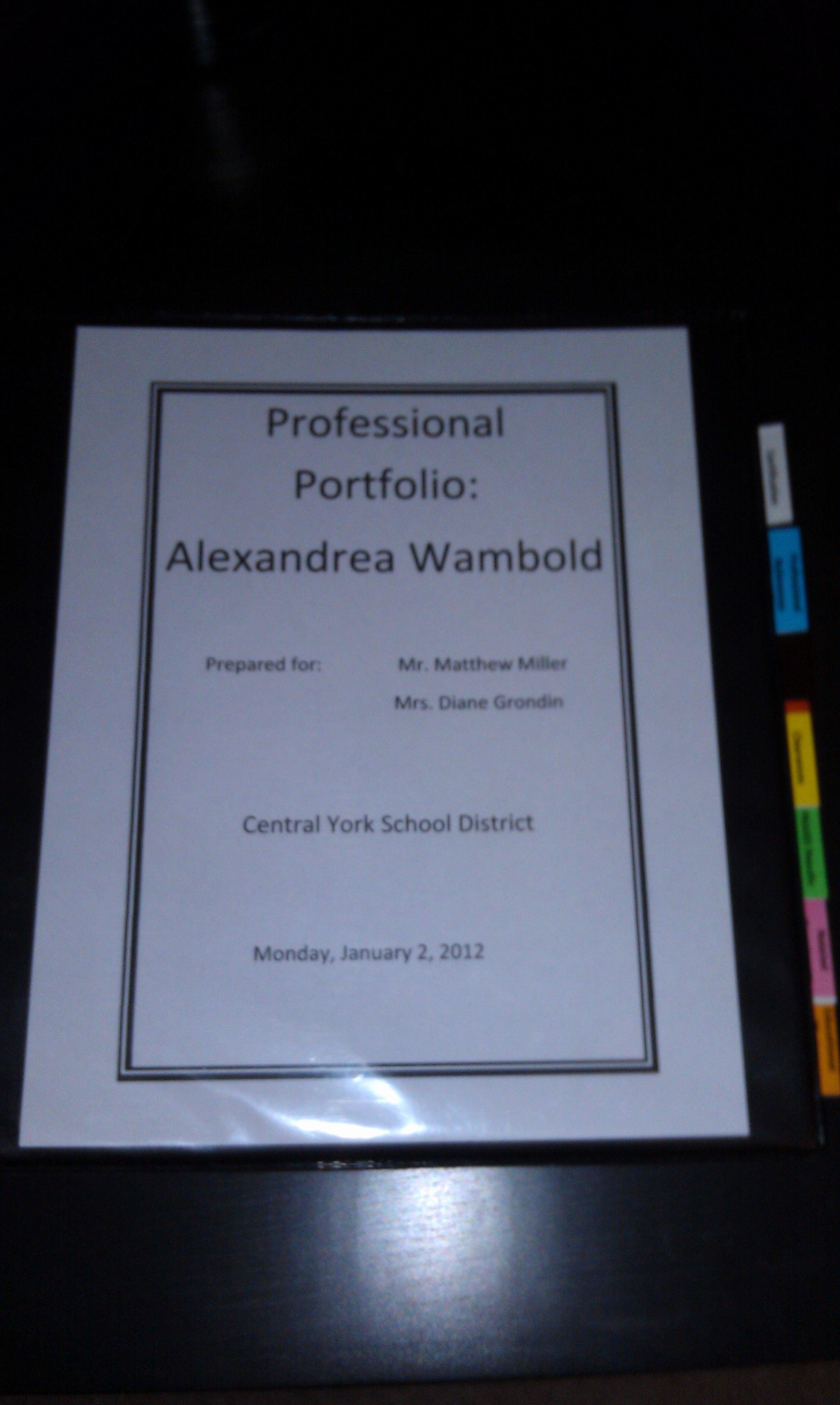Portfolio Cover Page Templates Best Of Teaching Professional Portfolio Cover