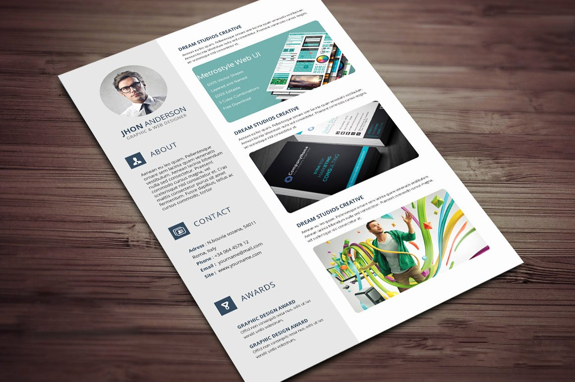 Portfolio Cover Page Templates Lovely Creative Resume Cv Template with Cover Letter and