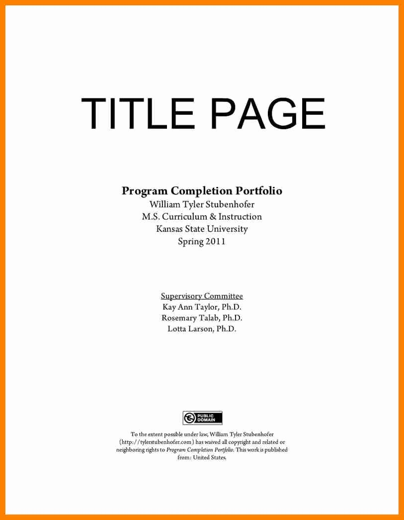 Portfolio Title Page Template Elegant 12 13 Resume Cover Page Samples