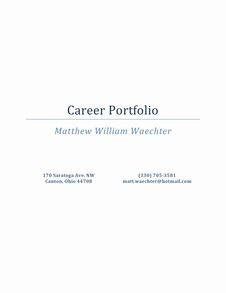 Portfolio Title Page Template Fresh Career Portfolio