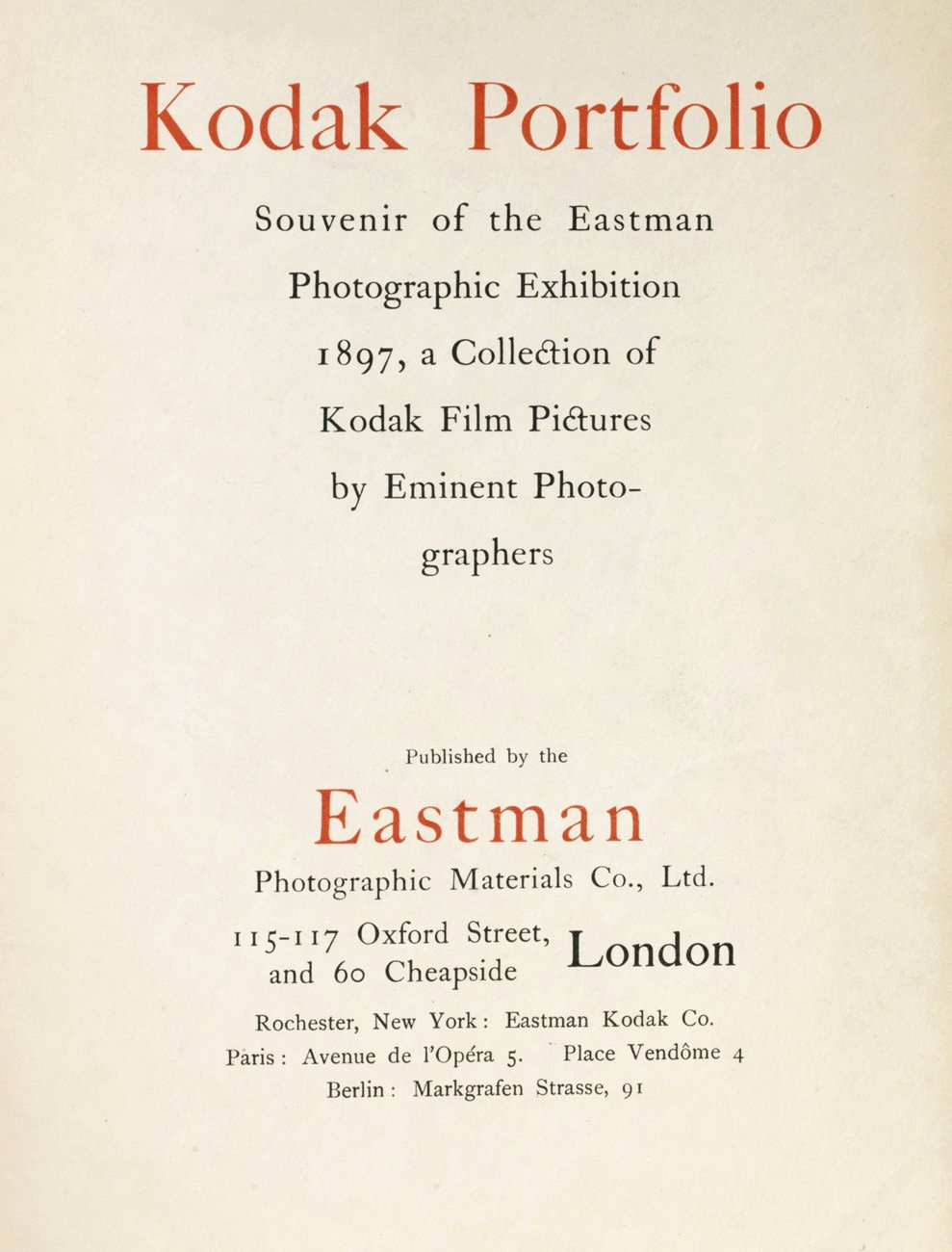 Portfolio Title Page Template Inspirational Kodak Portfolio souvenir Of the Eastman Graphic