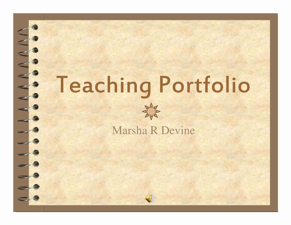 Portfolio Title Page Template New Teaching Portfolio M Devine 2008