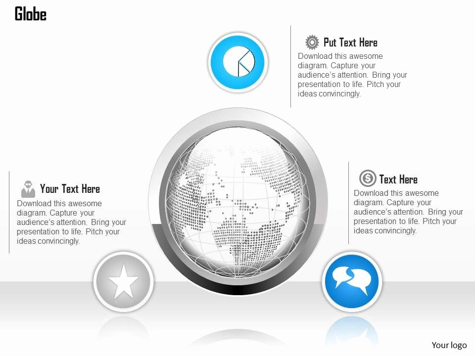 Powerpoint Presentation Outline Template Best Of 1014 Globe with Outline and Three Icons Powerpoint