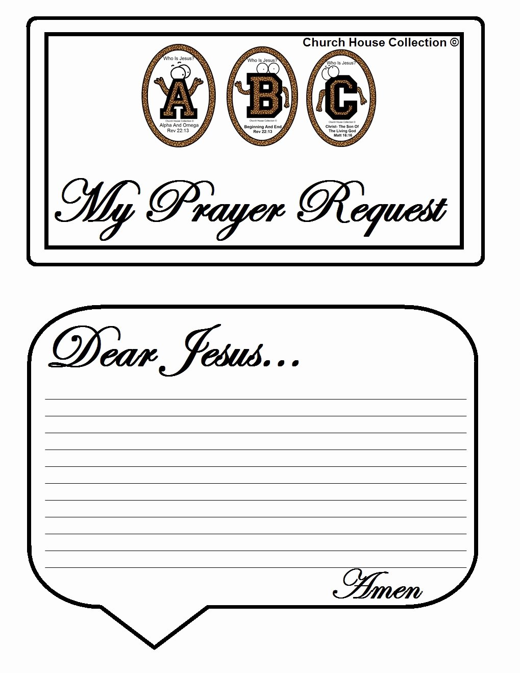 "Prayer Request forms Templates Elegant Church House Collection Blog Abc S ""who is Jesus "" White"