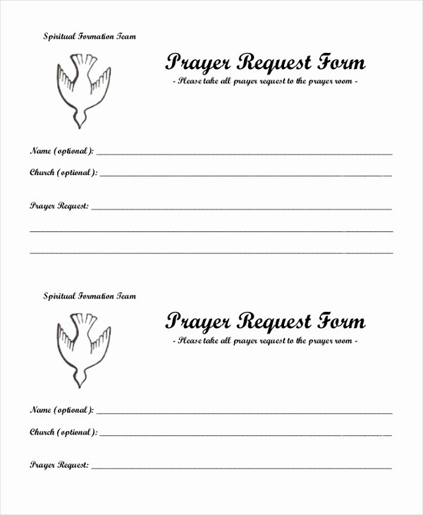 Prayer Request forms Templates Elegant Free 10 Sample Prayer Request forms