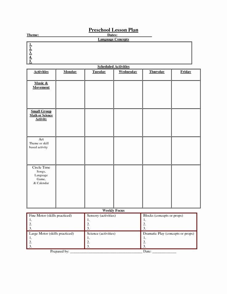 Preschool Daily Lesson Plan Template Elegant Printable Lesson Plan Template Nuttin but Preschool