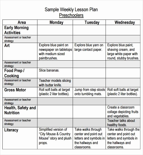 Preschool Daily Lesson Plan Template Fresh Preschool Lesson Plan Template Pdf Protomj
