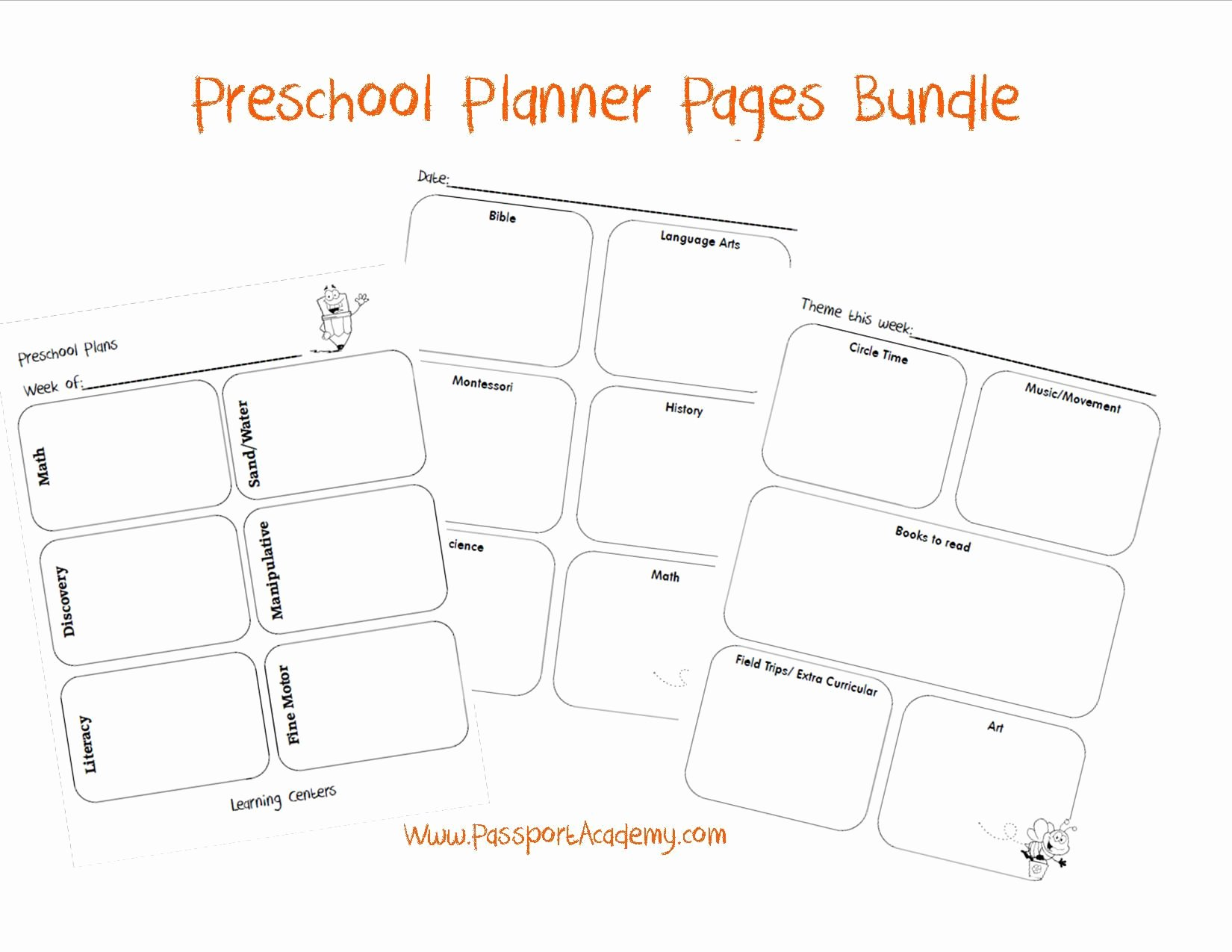 Preschool Daily Lesson Plan Template Unique Preschool Planner Bundle Free From Passport Academy