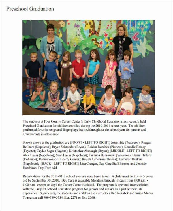 Preschool Graduation Program Templates Elegant 6 Sample Graduation Programs Pdf Word
