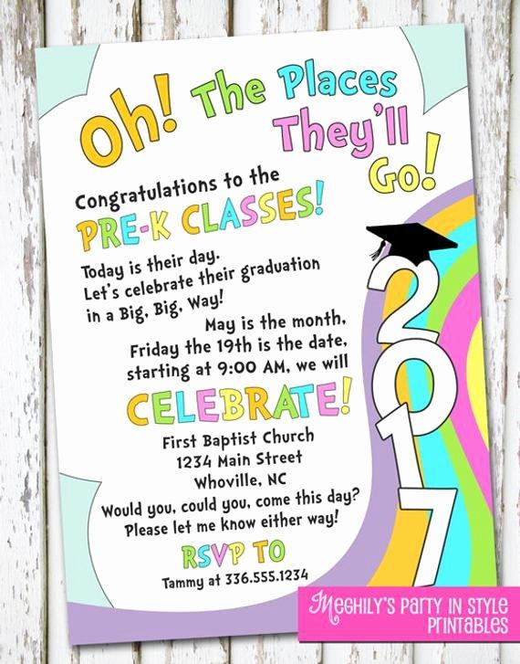 Preschool Graduation Program Templates Fresh Oh the Places You Ll Go Preschool Graduation Invitation