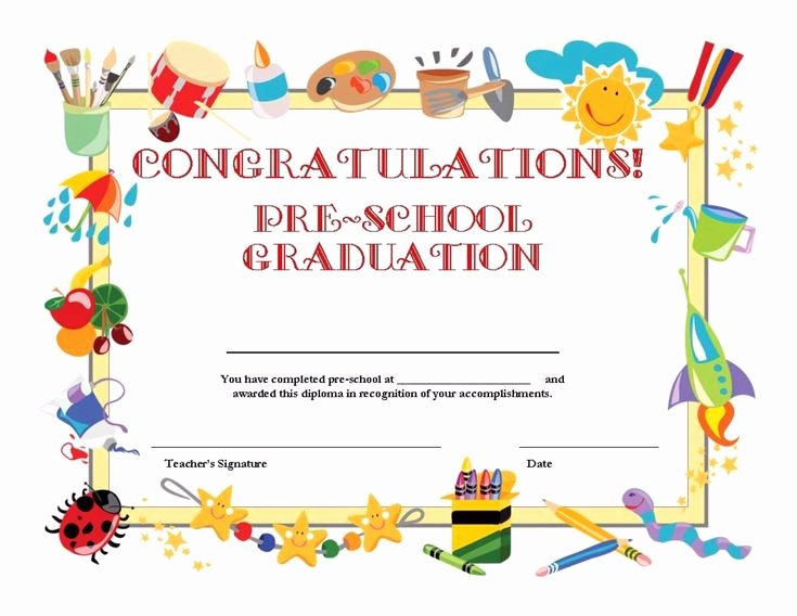 Preschool Graduation Program Templates Lovely Free Printable Pre School Graduation Certificate