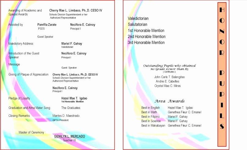 Preschool Graduation Program Templates Unique 15 Beautiful Preschool Graduation Program Templates