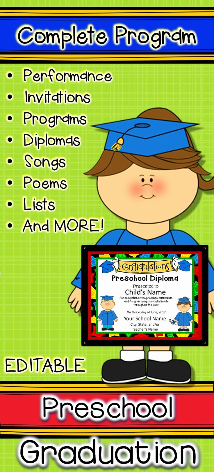 Preschool Graduation Programs Template Beautiful Preschool Graduation Diplomas Invitations and Program