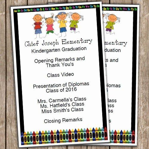 Preschool Graduation Programs Template Elegant Kindergarten Graduation Half Sheet Blank Editable Program