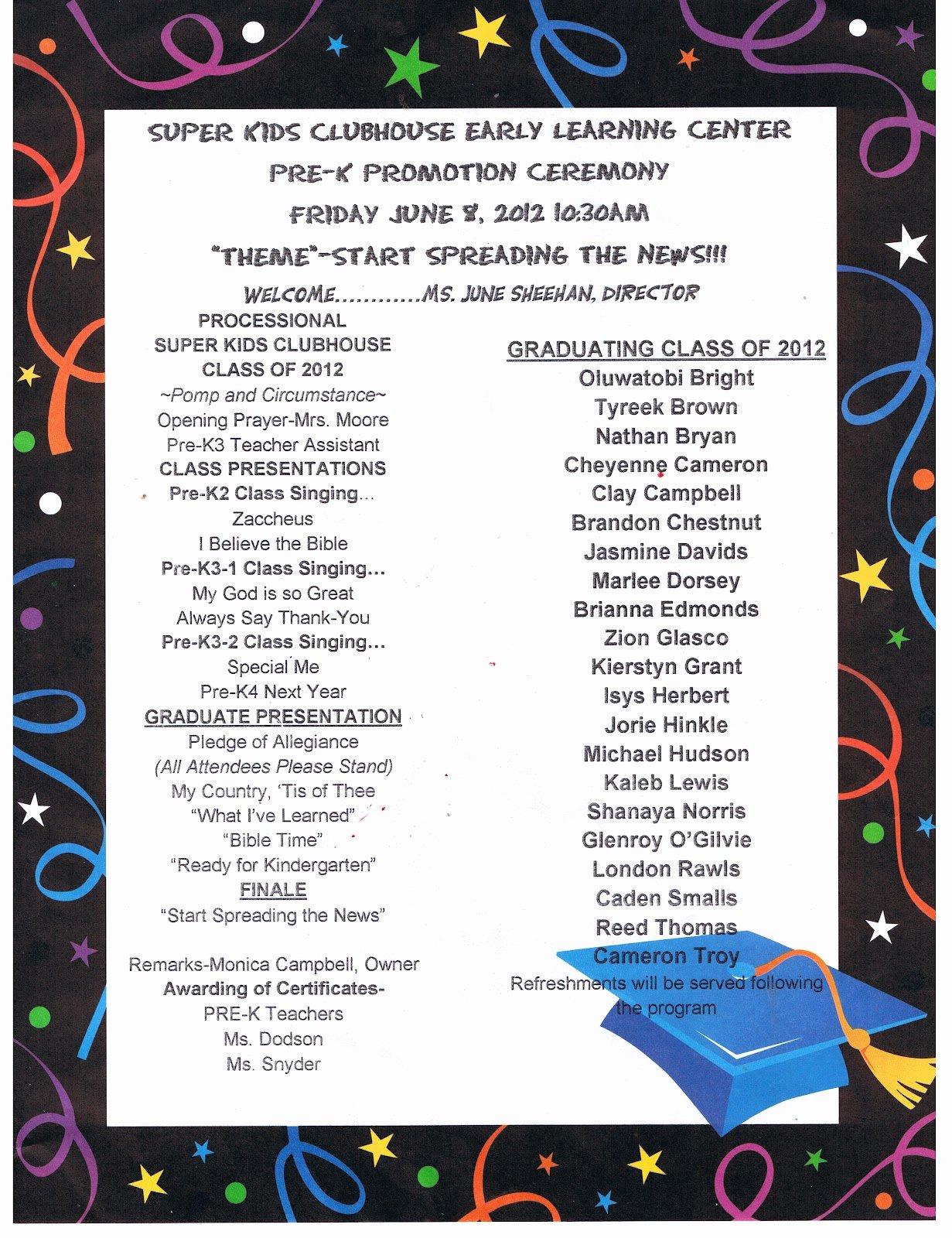Preschool Graduation Programs Template Fresh Reed S Pre K Graduation