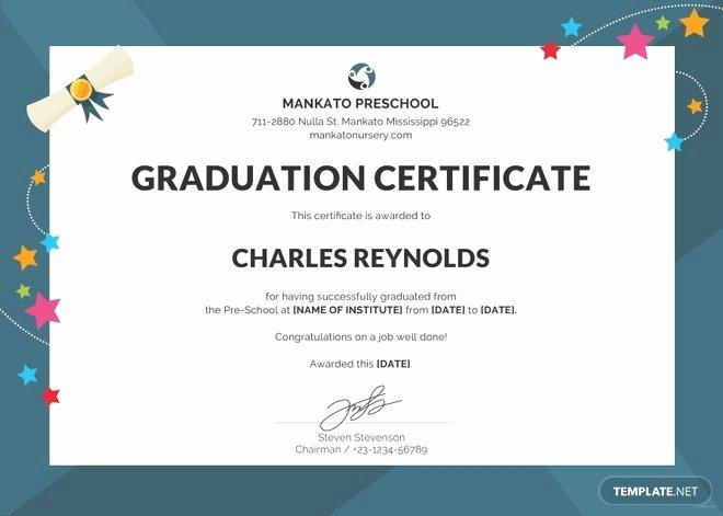 Preschool Graduation Programs Template Inspirational Free Preschool Graduation Certificate Template In Psd Ms