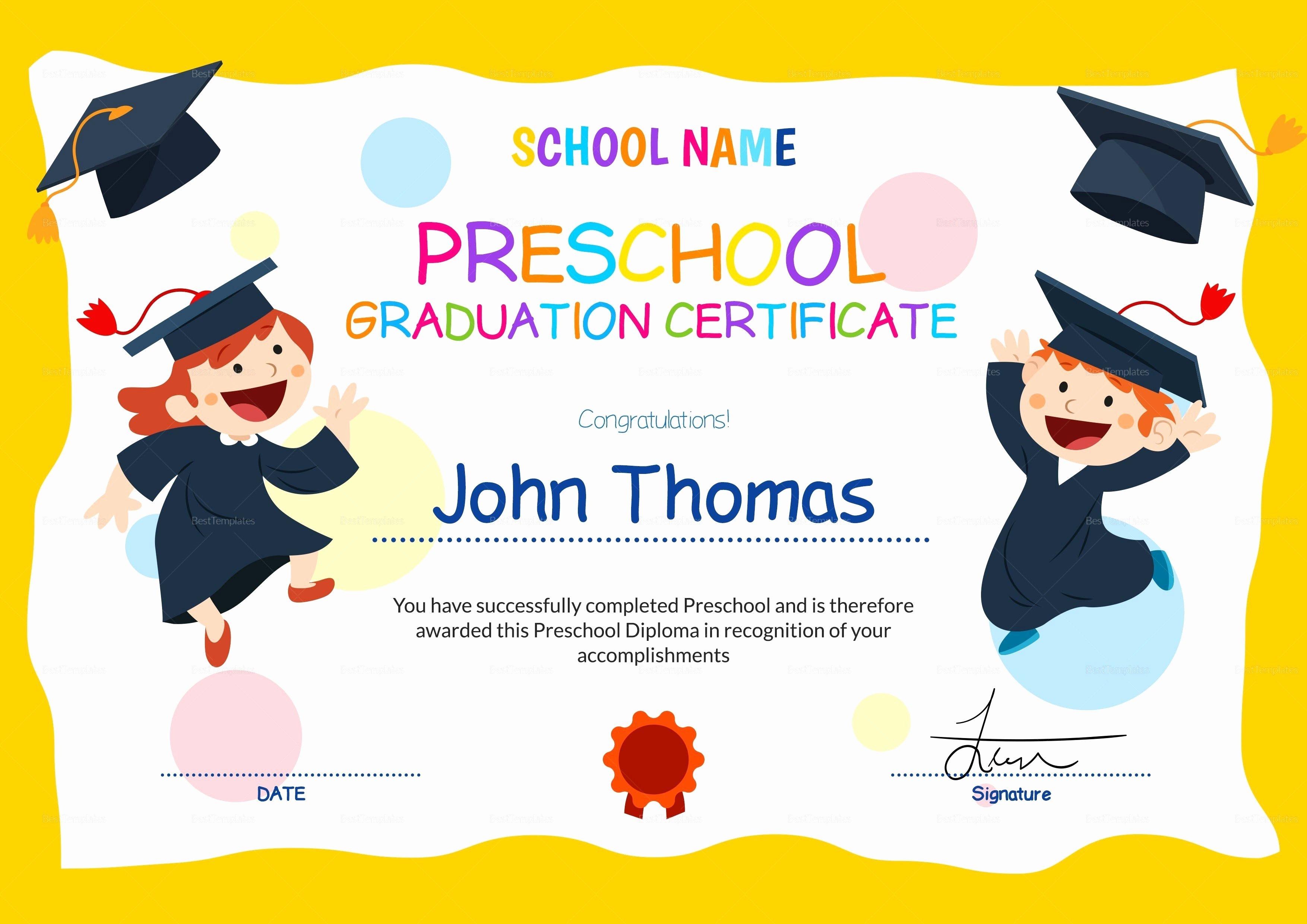 Preschool Graduation Programs Template Luxury 11 Preschool Certificate Templates Pdf